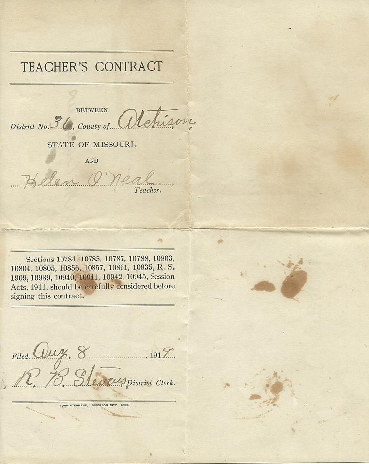 Atchison County Missouri Helen Oneals Teaching Certificate
